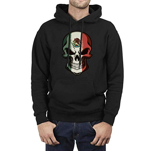 LED.Z.COUR Mexican Skull Tattoo Flag Halloween Makeup Mens Guys Black Hoodie Fleece Long -