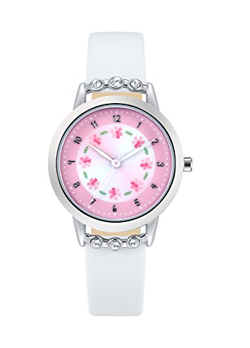 Watches for Girls Leather Band White Flowers Dial with Diamond Cute Sports Watch For Children Casual Waterproof Wristwatches for Kids (White Leather Diamond Watch)