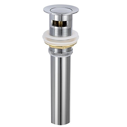 CRACCO SPA Bathroom Sink Drain Stopper Pop Up with Overflow for Bath Vanity Sink Brass Body and Stainless Steel Waste Pipe, Polished Chrome