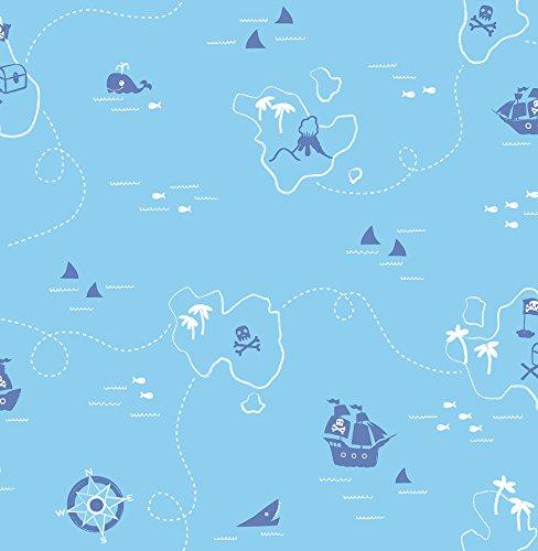 Brewster 2679-002104 Kids Sharks Blue Map Wallpaper