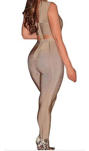 YeeATZ Cross Bust Bandage Jumpsuit(Khaki,M) by YeeATZ (Image #4)