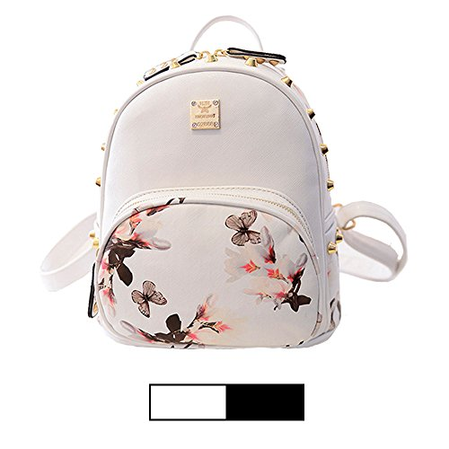 Mini Backpack for Girls Designer Rivet PU Leather Travel Bags Womens Casual Fashion College School Sport Daypack Outdoor Accessories Ruchsack Pack Floral Bookbags Waterproof (White Backpack)