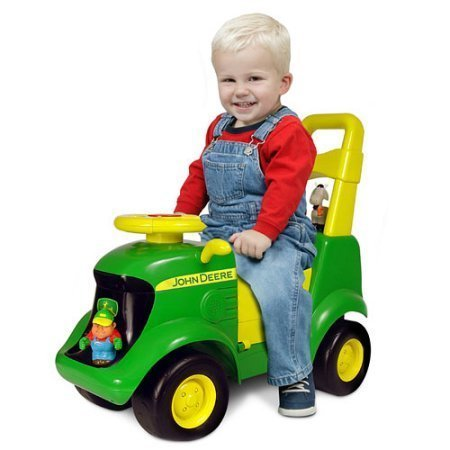 John Deer Foot To Floor Light And Sound Tractor,Includes Four Adorable Farm Animals With Fun Places to Ride,Realistic Tractor Sounds,Educational Activity Playset Area,Great Gift for Boys -
