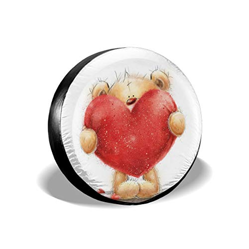 GULTMEE Tire Cover Tire Cover Wheel Covers,Valentines Day Inspired Sweet Teddy Bear Holding A Big Red Heart Love Romance,for SUV Truck Camper Travel Trailer Accessories(14,15,16,17 Inch) 17