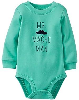 Carters Long Sleeve Bodysuit Turquoise Macho Man Mustache