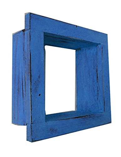 Square Wood / Wooden Shadow Box Display - 9'' x 9'' - Blue - Decorative Reclaimed Distressed Vintage Appeal by IGC