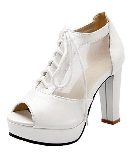 0f9ff577f26a3d YE Elegant Damen Blockabsatz Peep Toe High Heels Plateau Pumps mit  Schnürung 10cm Absatz Schuhe Weiß
