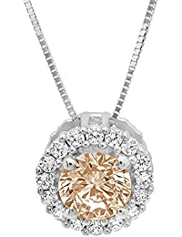 """1.25 ct Brilliant Round Cut Brown Champagne Pave Halo Simulated diamond Cubic Zirconia Ideal VVS1 D Solitaire Pendant Necklace With 16"""" Gold Chain box Solid Real 14k White Gold"""