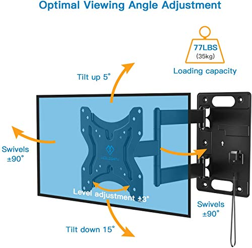 Perlesmith RV Lockable TV Wall Mount for Most 23-43 Inch LED, LCD, OLED Plasma, Flat Screen TVs Full Motion with Articulating Arm Bears up to 77 lbs Swivels Tilts Extends for MotorHomes Camper Trailer