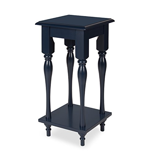 Kate and Laurel Sophia Wood Plant Stand End Table with Shelf, Navy Blue Storage Plant Stand