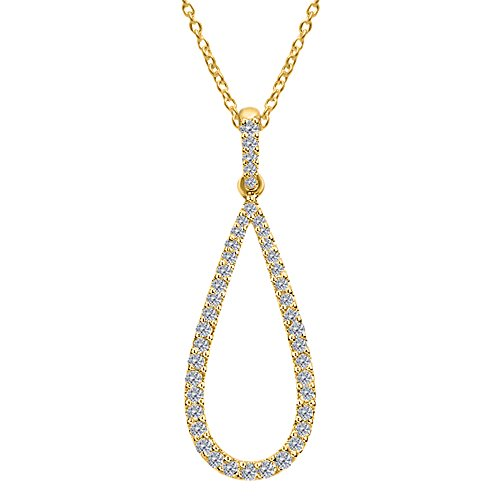 OMEGA JEWELLERY 1/3 Ct Round Cut Natural Diamond Open Teardrop Pendant With Chain In 10K Gold (yellow-gold)