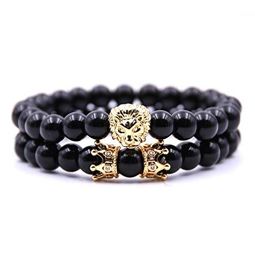 QCQHDU Monade 8MM Black Bead Stone Bracelet for Men Women,Owl Lion Headed Beaded Bracelet Jewelry(2PC) (Owl Beaded Bracelets)