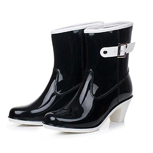 Fashion side buckle Ms. ladies rain boots Black PdsPvlt