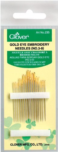 - Clover 235 No. 3-9 Gold Eye Embroidery Needles, Pack of 16