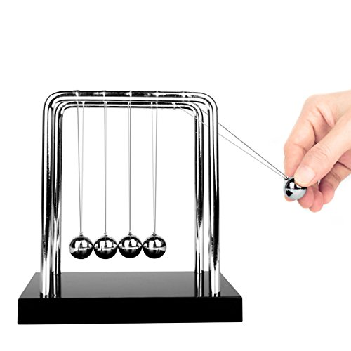 Glantop Newton's Cradle Art in Motion Toy with Metal Balance Ball and Solid Wooden Base (Black, Medium Size)