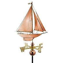 """27"""" Luxury Polished Copper Nautical Racing Sloop Sailboat Weathervane"""
