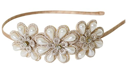 Beige Great Gatsby / Flapper Inspired Fashion Headband / Hairband with Faux Pearls & Rhinestones by Lucky Fifty7