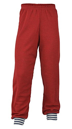 EcoAble Apparel Kids Thermal Pajama Lounge Pants, 100% Merino Wool, Sizes 2-8 years (EU 92/2 years, Red)