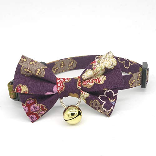 PetSoKoo Bowtie Cat Collar with Bell. Colorful Sakura Kimono Style Bow Tie. 100% Cotton. Safety Breakaway Buckle .Light Weight, Soft, Durable. (Small (6-9.5 inch,16-24cm), Purple)