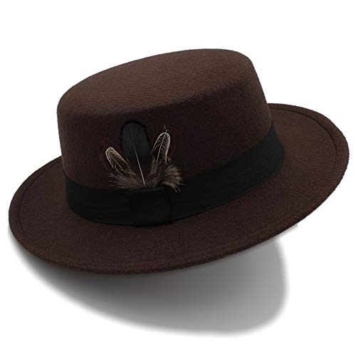 Pork Pie Hat Men Tan Wool Fedora Hats Winter Bowler Women Brown Felt Fedoras Hat Ribbon Bowknot Top Woolen Caps Wholesale (Color : Coffee, Size : -