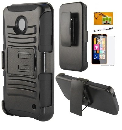 LF 4 in 1 Bundle Accessory - Hybrid Armor Stand Case with Holster and Locking Belt Clip, Stylus Pen, Screen Protector & Wiper for (AT&T, MetroPCS, T-Mobil) Nokia Lumia 635 (Holster (Nokia Stylus)