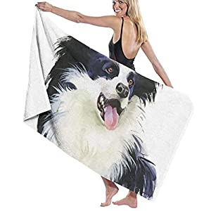 LIDHYER Border Collie Sticking Tongue Bathroom Towels Men & Women Large Bath Towel 31.5 X 51.5 Inch - Microfiber - Highly Absorbent - for Bath, Swimming, Fitness, Yoga, Pool, Beach Towels 1