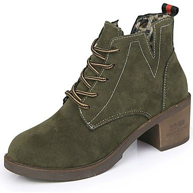 RTRY Women'S Shoes Pu Fall Winter Combat Boots Boots Block Heel Round Toe Mid-Calf Boots Lace-Up For Casual Green Black US6.5-7 / EU37 / UK4.5-5 / CN37 nKuB27FWdv