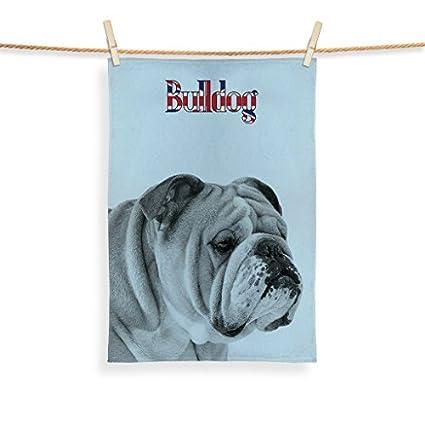 "British Bulldog diseño tres colores de microfibra toalla de té, personalizado 20 ""x"