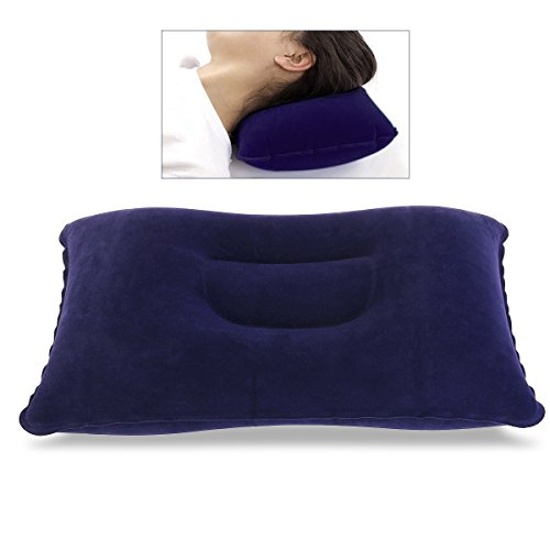 Super-Thick Flocking Fabric Inflatable Pillow Portable Travel Pillow(Dark Blue)