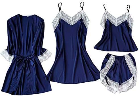 TIFENNY Women Nightdress Sexy Lingerie Lace Sleepwear Satin Short Sleeve Underwear Pajama Set Cardigan Shorts Sets