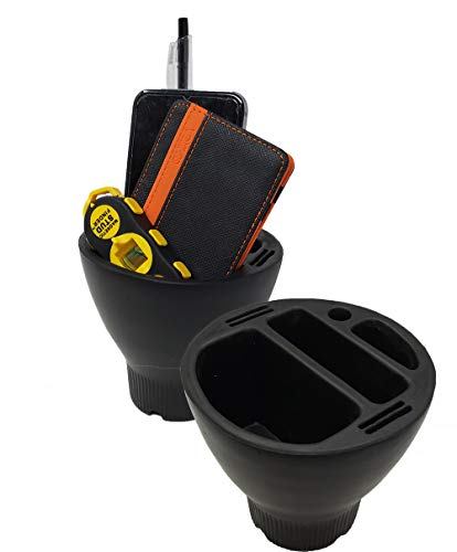 Gearred up Car Cup Holder Organizer for Cell Phones, Change Coins, Accessories Pen, Black Foam Connect Charger from Bottom