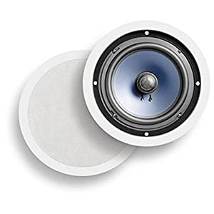 """Polk Audio RC80i 2-way Premium In-Ceiling 8"""" Round Speakers, Set of 2 Perfect for Damp and Humid Indoor/Outdoor Placement - Bath, Kitchen, Covered Porches (White, Paintable Grille)"""