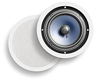 "Polk Audio RC80i 2-way Premium In-Ceiling 8"" Round Speakers, Set of 2 Perfect for Damp and Humid Indoor/Outdoor Placement - Bath, Kitchen, Covered Porches (White, Paintable Grille) (B00006BMQT) 