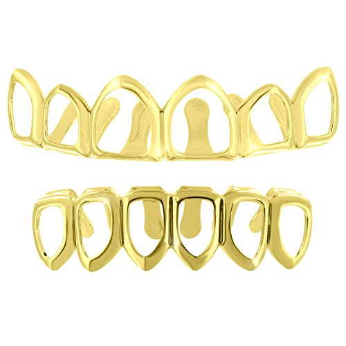 [Open Face Mouth Grillz Top Bottom 14k Gold Plated 6 Tooth Caps Halloween Sale] (Celebrity Halloween Costumes For Sale)
