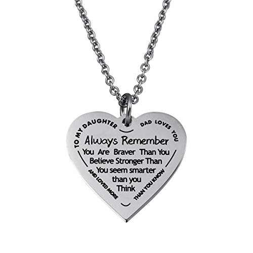 Haoflower Daughter Heart Pendant Necklace You are Braver Than You Believe Engraved Motivational Message Stainless Steel Jewelry Gifts from Mom Dad (to My Daughter - Dad Loves You)