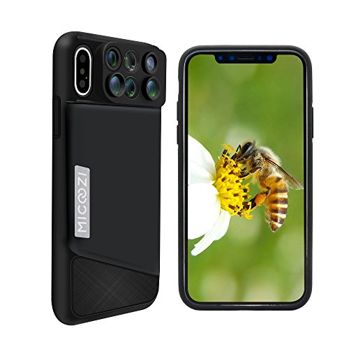 iPhone X Lens, 6 in 1 Dual Camera Lens Kit, 180 Degree Fisheye Lens, 0.65X Super Wide Angle Lens, 10X/20X Zoom Macro Lens, Telescope Lens with Phone Case Cover for Apple iPhone X