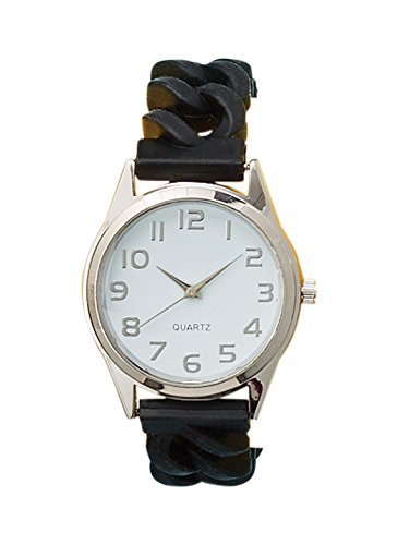 Perfect Fit Women's Easy Read Silicone Stretch Watch | By Trenton Gifts (Black)