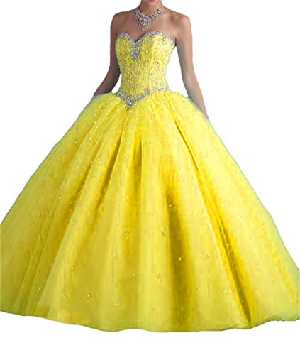 (BanZhang Quinceanera Dresses Gold for Women Junior Beaded Sweet 16 Dress Prom Party Ball Gown B181 Gold)