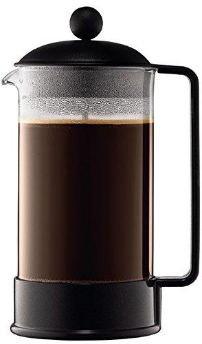 Bodum BRAZIL Kaffeebereiter (French Press System, Permanent Edelstahl-Filter, 1,0 liters) schwarz
