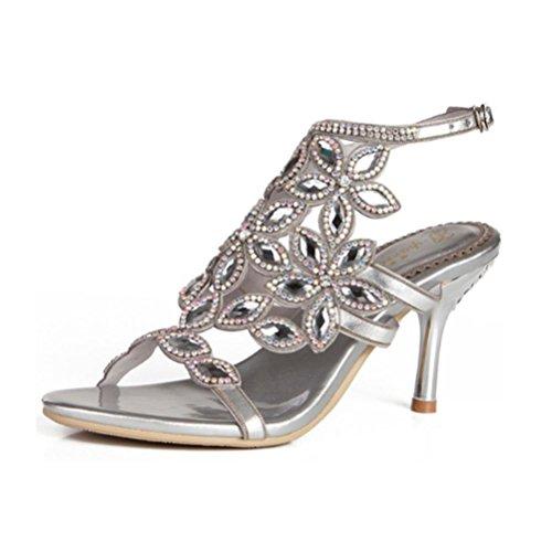 de tamaño silver hebilla de de 44 fino 43 sandalias Señoras fine cristal caladas diamantes de QPYC de de gran de diamantes with altos imitación tacón Tacones zapatos Sandalias AHqXPwc4