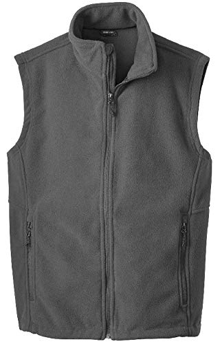 Joe's USA Men's Soft and Cozy Fleece Vest-XL-Iron Grey - Fleece Zipper Vest