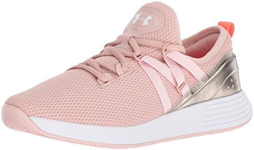 Under Armour Women's Breathe Trainer Sneaker, Flushed Pink (603)/Metallic Faded Gold, 5