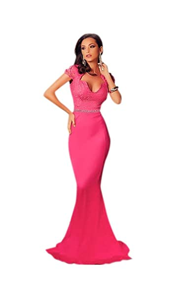 Mela Proibita - Abito lungo donna fucsia sera elegante cerimonia ballo  vestito a sirena in pizzo - Fucsia b03bfbece19