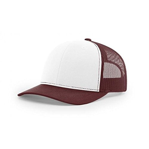 Richardson White/Maroon 112 Mesh Back Trucker Cap Snapback Hat