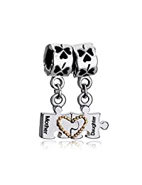 Heart Love Mom Mother Daughter Puzzle Charm New Sale Cheap Silver Plated Dangle Beads Fit Pandora Jewelry Bracelet