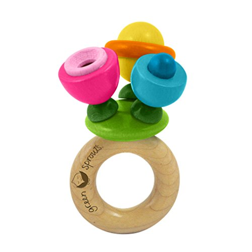 green sprouts Flower Rattle Made