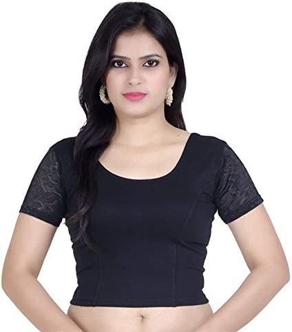 Black Cotton Net Streachable Blouse New Readymade Stitched Saree Choli Top Tunic Sari Blouse For Bridal Wedding Wear,Party Wear Blouse