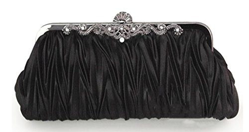 (CLT-02-BB) Zakka Republic Vintage Satin Pleated Evening Cocktail Wedding Handbag Clutch w/Shoulder Chain (Black)