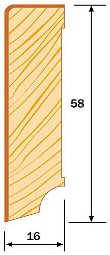 KGM Sockelleiste Nussbaum Echtholz Fu/ßleiste 58mm Modern ✓Echtholz Fichte Tr/äger ✓Furnier Holz Oberfl/äche ✓Parkettleiste Holzleisten Nussbaum 16x58x2500mm Sockelleisten Laminat /& Parkett