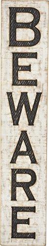 Primitives by Kathy PBK Halloween Decor - Beware Carved Wood Mantle Sign ()